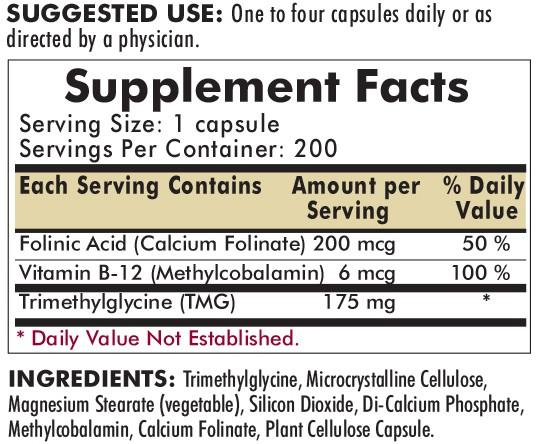 TMG 175mg with Folinic Acid and B-12 200ct ingredients